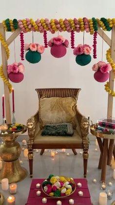 Desi Wedding Decor, Diy Wedding Backdrop, Wedding Stage Decorations, Engagement Decorations, Backdrop Decorations, Flower Decorations, Mehndi Ceremony, Indian Wedding Ceremony, Haldi Ceremony