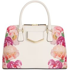 Calvin Klein Saffiano Satchel (3.033.540 IDR) ❤ liked on Polyvore featuring bags, handbags, purses, floral white, handbag satchel, white satchel purse, floral satchel handbags, floral print handbags and purse satchel