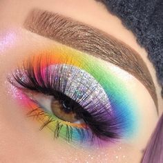 Rainbow Glitter Eyeshadow Perfect For Pride Month - eye makeup pride -. - Rainbow Glitter Eyeshadow Perfect For Pride Month – eye makeup pride – Eye Makeup - Silver Eye Makeup, Red Eye Makeup, Makeup Eye Looks, Glitter Eye Makeup, Colorful Eye Makeup, Crazy Makeup, Cute Makeup, Eyeshadow Makeup, Eyeshadows