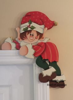 Hand painted Holiday Elf Door Hanger, Door Hugger