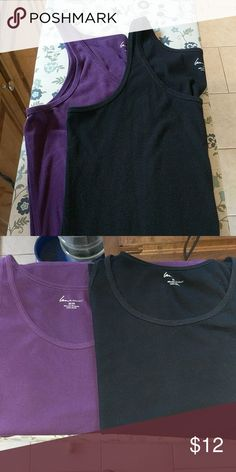Lot of 2 ribbed  tank tops in purple and black Lot of 2 ribbed  tank tops in purple and black in 22/24 Lane Bryant Tops Tank Tops