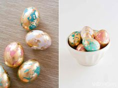 DIY Golden Marbled Easter Eggs - By: Jennifer KirkSupplies:foam block (mine was 12 x 6 inch)48 toothpicksdozen white eggsset of food coloringwhite vinegarheatproof jars (large and deep enough to dip eggs into)metal spoonleafing kit (found at the craf