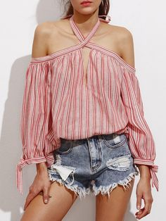 Blouses by BORNTOWEAR. Off Shoulder Keyhole Halter Tie Sleeve Striped Top