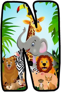 Illustration about Illustration of safari animal cartoon. Illustration of elephant, hippo, color - 18856379 Jungle Theme Birthday, Jungle Party, Safari Party, Safari Theme, Safari Animals, Cute Animals, Alfabeto Animal, Illustration, Alphabet