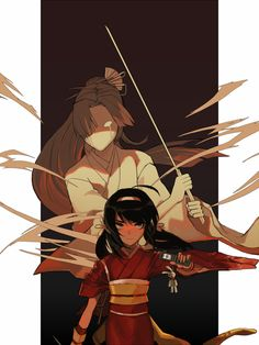 Kyoka and her sword-wielding phantom, passed from mother to daughter shortly before the latter's death.