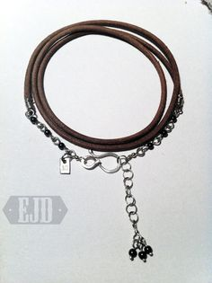 Items similar to Brown Leather & Hematite Wrap Bracelet. Flexible Curvy Triple Loop Glazed Real Suede 925 Sterling Silver Round Gray Stone Dangle Original on Etsy Jewelry Design, Unique Jewelry, Brown Leather, Diamond, Bracelets, Handmade Gifts, Accessories, Etsy, Vintage
