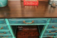 Dumpy to Debutant, the tale of a teal distressed desk Distressed Desk, Teal Desk, Java Gel, Old Garage, Simple Desk, Holly Springs, General Finishes, Project Ideas, Projects