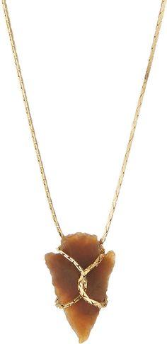 Serefina Arrowhead Pendant Necklace, Amber Agate