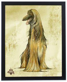 Afghan Hound Caricature Antiqued Art Print – JohnLaFree.com  #afghanhound #johnlafree