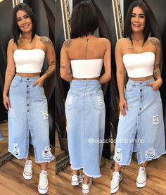 Source by juvenil femenina moda gorditas Cute Fall Outfits, Winter Fashion Outfits, Classy Outfits, Denim Fashion, Stylish Outfits, Summer Outfits, Fashion Dresses, Long Denim Skirt Outfit, Skirt Outfits Modest
