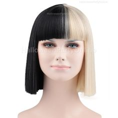 Halloween Party Online SIA Black Blonde Wig Small Costume Cosplay... (€23) ❤ liked on Polyvore featuring costumes, cosplay costumes, role play costumes, cosplay halloween costumes, party halloween costumes and wig costumes