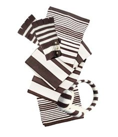 Striped Cashmere Scarf, fingerless gloves AND Earmuffs.Our favorite favorite favorite! Henri Bendel, Earmuffs, Tis The Season, Fingerless Gloves, Cold Weather, Cool Stuff, Stuff To Buy, Cufflinks, Stockings
