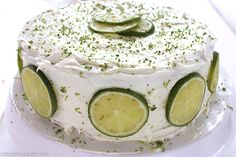 Easy Lime Cake with Cream Cheese Frosting is so simple and tastes amazing. Amazing and flavorful cake. Lemon Desserts, Lemon Recipes, Sweet Recipes, Cake Recipes, Lime Cake Recipe, Key Lime Cake, Coconut Pound Cakes, Lemon Cake Mixes, My Dessert