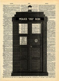 "Vintage Dictionary Print ""Tardis"" Upcycled Recycled Antique Book Print - Sci Fi Doctor Who Art - Dr Who Print - British Police Box"