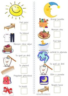 Morning and evening routine (printable) - Ama Nicolae- Rutina de dimineata si de seara (printabil) – Ama Nicolae Morning and evening routine (printable) – Ama Nicolae - Daily Routine Chart For Kids, Charts For Kids, Toddler Routine Chart, Toddler Reward Chart, Morning Routine Chart, Daily Routines, Preschool Learning Activities, Infant Activities, Educational Activities