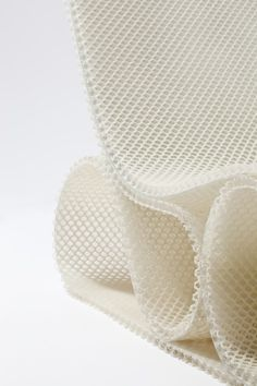 spacer chair detail designed by Studio Samira Boon | soft and open mesh fabric, constructive folding and hardening,  three-dimensional, constructive qualities, NEXT Architects, Droog design, TU Delft.
