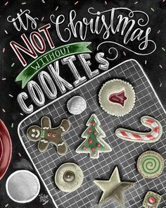 ♥ Its Not Christmas Without Cookies ♥  ♥ L I S T I N G ♥ Each image is originally hand drawn with chalk
