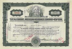The Baltimore American Insurance Company of New York ​- #scripomarket #scriposigns #scripofilia #scripophily #finanza #finance #collezionismo #collectibles #arte #art #scripoart #scripoarte #borsa #stock #azioni #bonds #obbligazioni