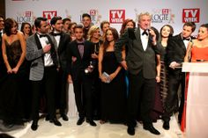 2014 TV Week Logie awards; Backstage with some winners: the cast and crew of Home and Away.