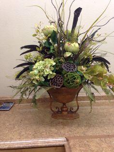 Green and brown centerpiece Contemporary Flower Arrangements, Table Flower Arrangements, Artificial Floral Arrangements, Artificial Flowers, Church Flowers, Funeral Flowers, Fall Flowers, Dried Flowers, Silk Flower Bouquets