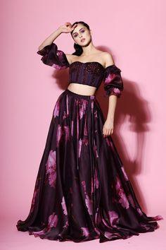 Purple Corset Blouse With Lehenga Design by Mahima Mahajan at Pernia's Pop Up Shop Indian Gowns Dresses, Indian Fashion Dresses, Indian Designer Outfits, Designer Dresses, Modest Fashion, Skirt Fashion, Fashion Outfits, Ethnic Outfits, Indian Outfits