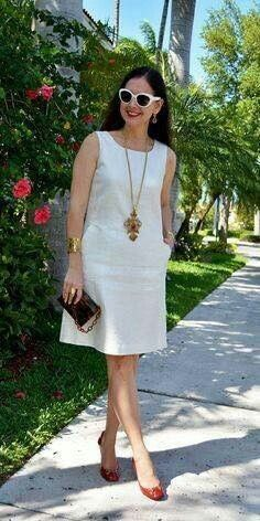 Ideas For Fashion Clothes Women Style Moda Simple Dresses, Cute Dresses, Casual Dresses, Short Dresses, Fashion Dresses, Summer Dresses, Fashion Clothes, Little White Dresses, Linen Dresses
