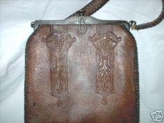 leather tooled art nouveau bag