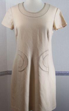 Boden Dress Size 6 Regular Shift Dress Beige taupe trim wool short sleeve #Boden #Shift #Casual
