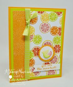 The Tutti-Frutti Suite is amazing! 4 cute little fruit punches and some amazing designer series paper to go with an adorable matching stamp set! I have a video tutorial on my blog showing how to make a ROLO candy flower to match - a perfect gift to go with any card. Click the photo to go to watch the video. www.AStampAbove.com