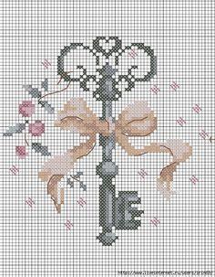 Cross Stitch Free chart クロスステッチフリーチャート: Key 鍵 🎀 Cross Stitching, Cross Stitch Embroidery, Embroidery Patterns, Hand Embroidery, Cross Stitch Needles, Cross Stitch Heart, Cross Stitch Designs, Cross Stitch Patterns, Loom Patterns