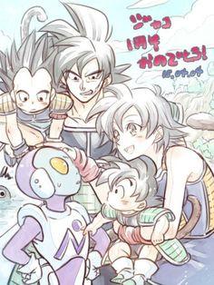 Bardock, Gine, Goku, Raditz y jaco