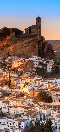 Montefrio, Granada, Spain.  The ruins of a Moorish castle sits near the highest point.  Being built midway between the Sierra de Priego and Sierra Parapanda, and commanding the open valley between these ranges, it became one of the chief frontier fortresses of the Moors in the 15th century.