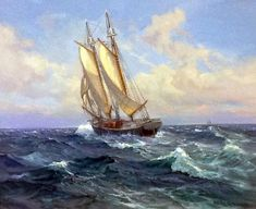 A collection of original paintings by the world renowned seascape artist Charles Vickery. Ship Paintings, Seascape Paintings, Landscape Paintings, Sailboat Art, Sailboats, Nautical Artwork, Old Sailing Ships, Sea Art, Art Pictures