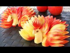 Art In Apple Peacocks | Fruit Carving Garnish | Apple Art | Party Garnishing - YouTube