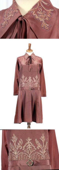 Day or cocktail dress of light, pinkish-brown silky Celanese rayon ca. 1926.