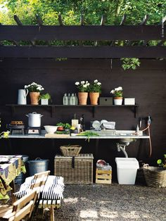For side of the house- make a potting table- hose & wood storage/cover meter, underneath window box