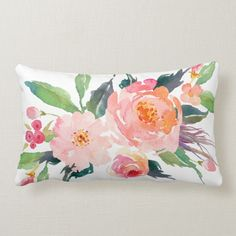 Watercolor Pink Peach Flower Bouquet Lumbar Pillow#floralprints #throwpillows #homedecor #flowery #cushions #zazzle