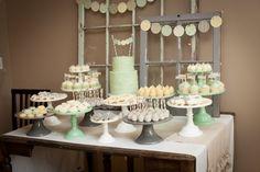 Gender neutral baby shower dessert table {prettymyparty.com} #babyshower #genderneutral #desserttable #parties