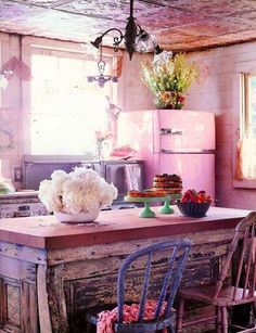 Fabulous pink, purple, and lavender kitchen. That pink frig and the embossed ceiling are making me delirious. | Tiny Homes
