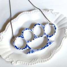 China Knuckles  Blue Floral Porcelain by TheBrokenPlate on Etsy, $40.00
