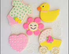 Baby shower cookies decorated cookies, boy girl baby shower baby carriage duck heart flower onesies cookies