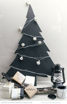 Chalkboard shaped Christmas tree