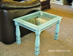 DIY End Table: Thrift Store Table + Spray Paint + Sheet of Glass + Vinyl Stencil + Frosted Glass Spray