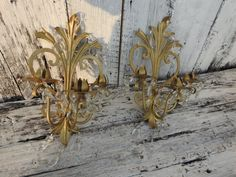 Antique Vintage Florentine Italian Italy Tole Prism Wall Sconce Pair Metal