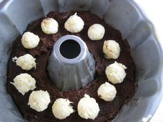 brownie bundt with coconut-cream cheese filling
