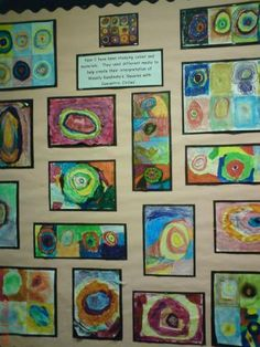 Year One completed a topic on Kandinsky, exploring his colour study of squares and this display shows their responses to that investigation. Sandra, John Betts Primary