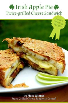 Melted Dubliner cheese, tart apples, sweet apple butter, and cinnamon bread combine to make this amazing, award winning Irish Apple Pie Twice-Grilled Cheese. #grilledcheesesandwich #nationalgrilledcheesesandwichmonth #dublinercheese