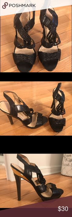 Charles Jourdan black strappy heels Beautiful black dressy heels. Very comfortable with platform below the toe. The leather is stretchy (elastic like effect). In good condition. Charles Jourdan Shoes Heels