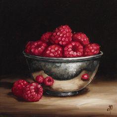 Raspberries in Silver Bowl Original Oil Painting by JanePalmerArt