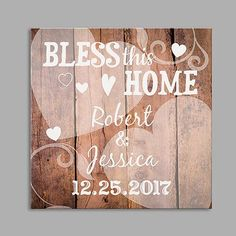 "Personalized ""Bless This Home""  Print Wall Canvas"
